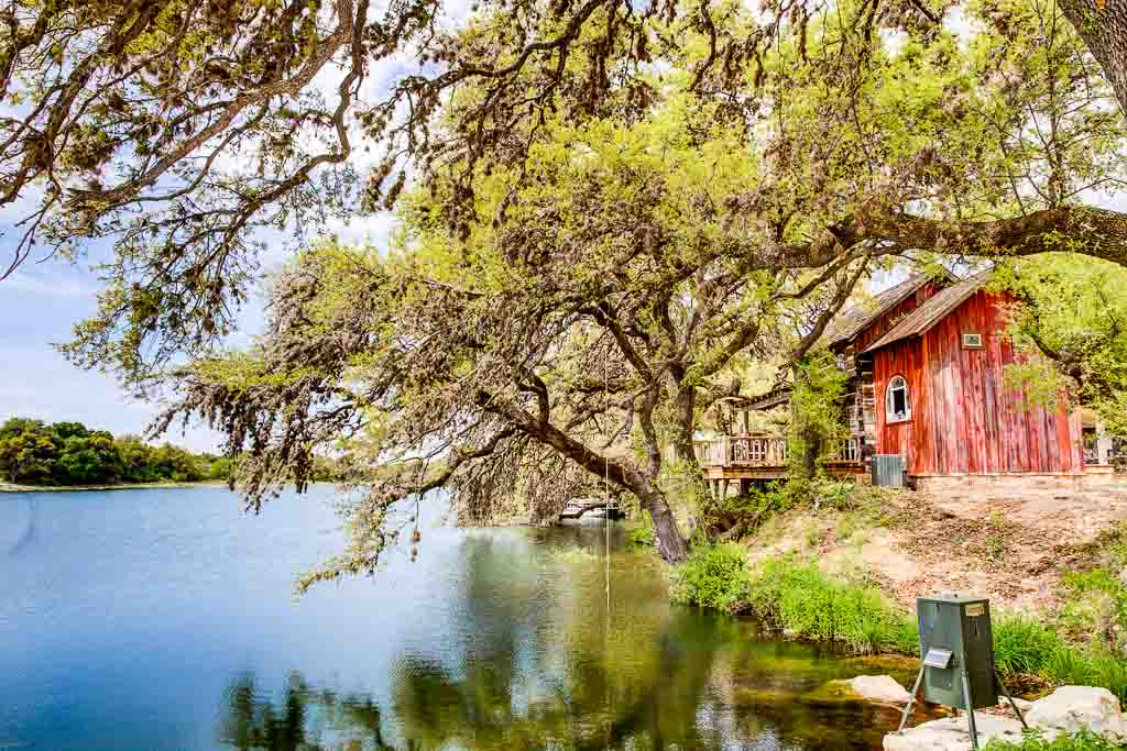 hunting cabin by lake