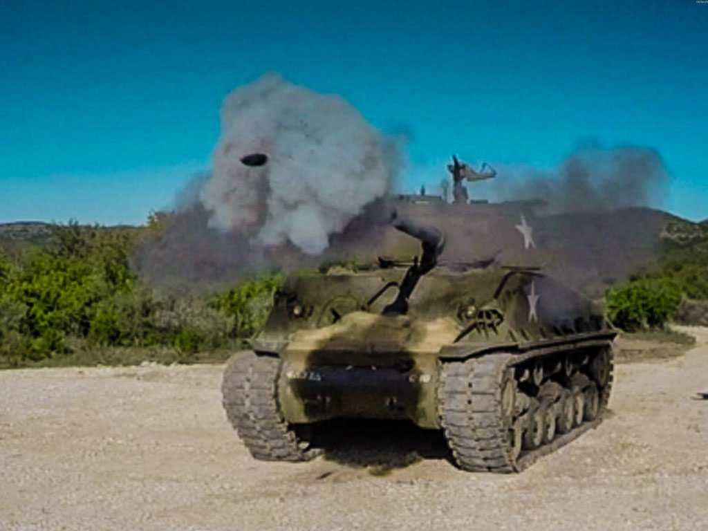 Drive a Sherman Tank, Fire it's 76mm Cannon, & run cars over!