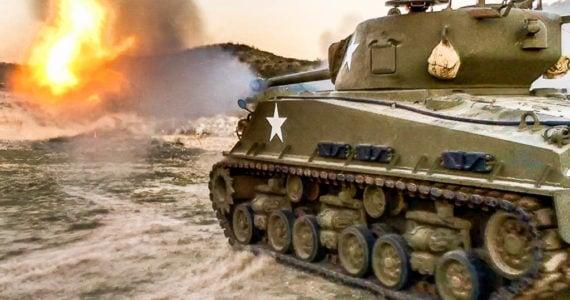 sherman tank firing