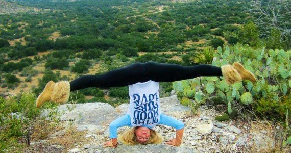 yoga on a cliff