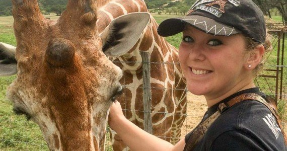 petting a giraffe
